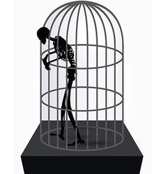 Skeleton silhouette in standing in cage vector