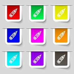 Pencil icon sign Set of multicolored modern labels vector image