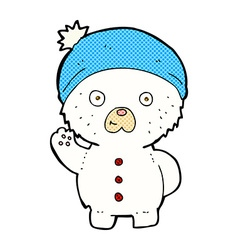 Comic cartoon waving polar teddy bear in winter vector