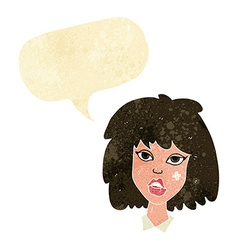 Cartoon woman with bruised face with speech bubble vector