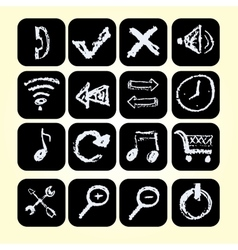 Set icons drawn chalks style vector