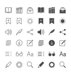 E-book reader icons vector image