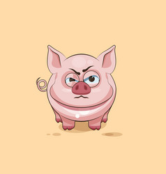 Isolated emoji character cartoon pig sticker vector