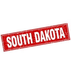 South dakota red square grunge vintage isolated vector