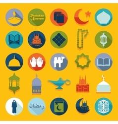 Set of flat icons ramadan kareem vector