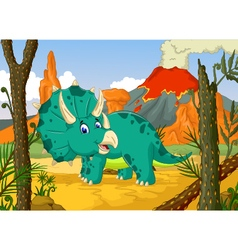 Triceratops cartoon with volcano background vector
