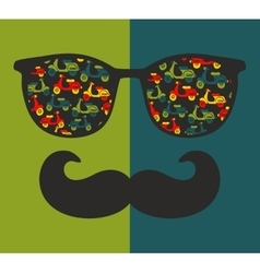 Abstract portrait of retro man in sunglasses with vector