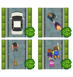 Aerial scene of people on the street vector image vector image