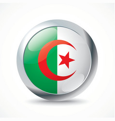Algeria flag button vector image vector image