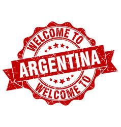Argentina round ribbon seal vector