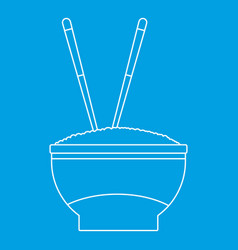 Bowl of rice icon outline style vector
