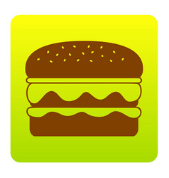 Burger simple sign brown icon at green vector