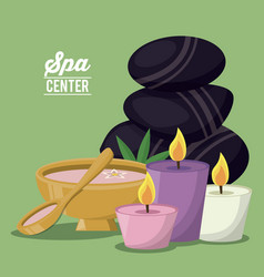 Color poster of spa center with set of volcanic vector