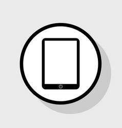 Computer tablet sign flat black icon in vector