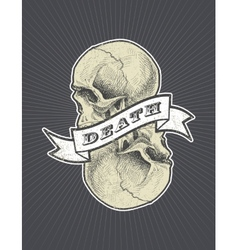 Death sign with ribbon and skull eps8 vector