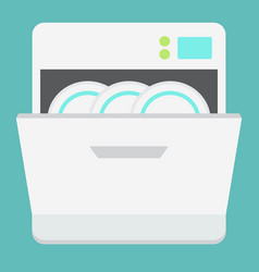Dishwasher flat icon kitchen and appliance vector