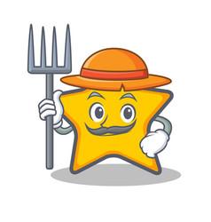 Famer star character cartoon style vector