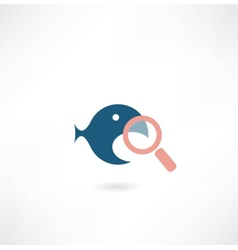 Fish under the magnifying glass icon vector