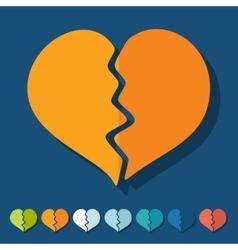 Flat design broken heart vector image