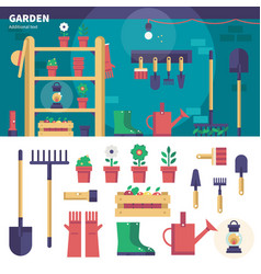 Gardening equipment in the garage vector
