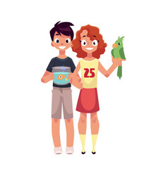 Girl holding green parrot and boy with aquarium vector