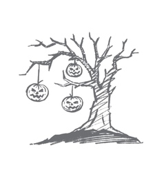 Hand drawn Halloween pumpkin faces hanging on tree vector image