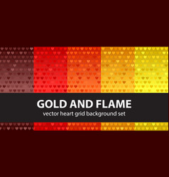 Heart pattern set gold and flame seamless vector