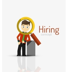 Hiring flat design concept man and magnifying vector