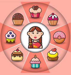 infographic set of sweet icons and woman vector image vector image