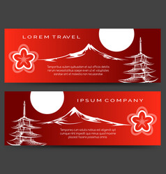 Japan pagoda and fuji mount banners vector