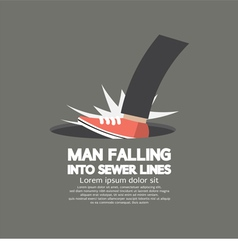 Man falling into sewer lines vector