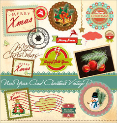 New year and christmas vintage design vector image