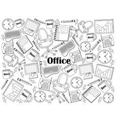 Office colorless set vector image vector image