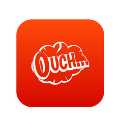 Ouch speech cloud icon digital red vector