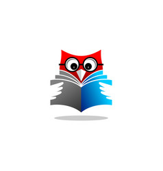 Owl reading book logo vector