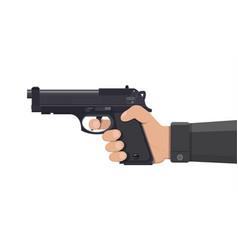 Pistol gun automatic modern handgun in hand vector