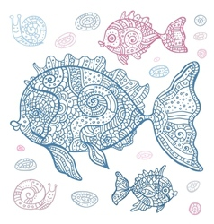 Sea fish set hand drawn vector