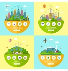 Set of ecology in flat style vector image vector image
