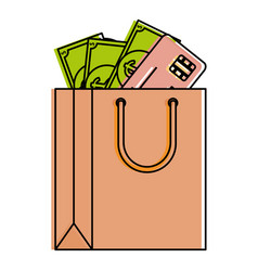 Shopping bag with bills and credit card vector