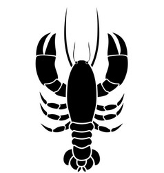Silhouette monochrome with lobster above vector