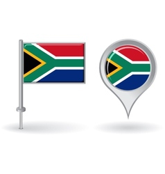 South african pin icon and map pointer flag vector