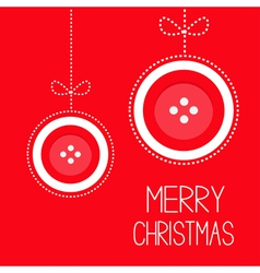 Two hanging red button merry Christmas ball vector image vector image