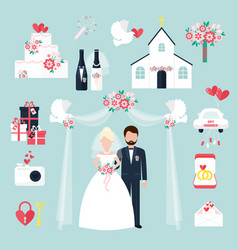 wedding elements invitation celebration set flat vector image