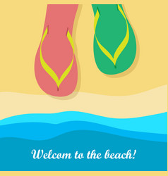 welcome to beach pair of colorful flip flops vector image