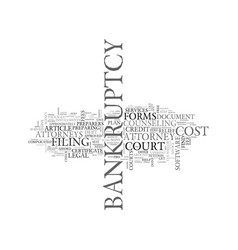 what will it cost to file bankruptcy text word vector image vector image
