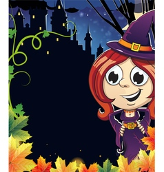 Witch girl near the castle vector