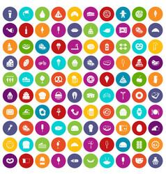 100 calories icons set color vector
