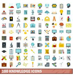 100 knowledge icons set flat style vector