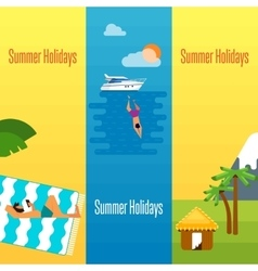 Summer holidays banner with tropical bungalows vector