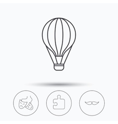 Puzzle air balloon and theater masks icons vector